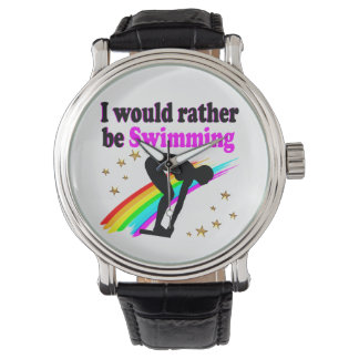 I WOULD RATHER BE SWIMMING PINK RAINBOW DESIGN WRIST WATCHES