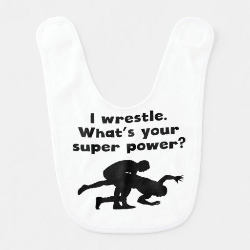 I Wrestle Super Power Baby Bib