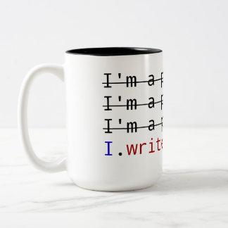 """I write code"" on Black 15 oz Two-Tone Mug"