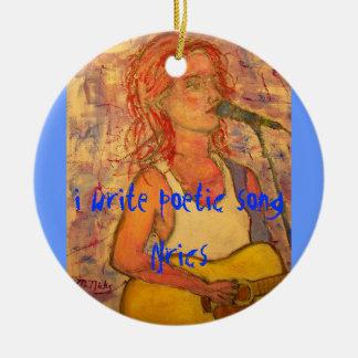 i write poetic song lyrics round ceramic ornament
