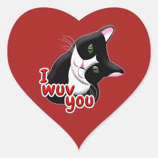 I wuv you Cat Heart Sticker