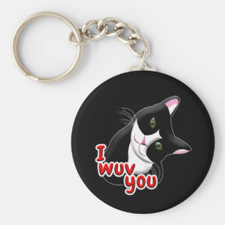 I wuv you Cat Keychain