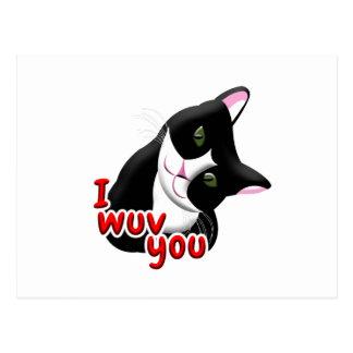 I wuv you Cat Postcard