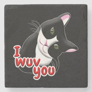 I wuv you Cat Stone Coaster