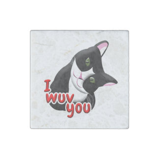 I wuv you Cat Stone Magnets