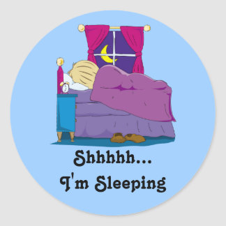 Ian Wakes Up Cover Sticker, Shhhhh... I'm Sleeping Round Sticker