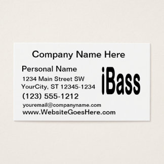 ibass music design black text business card