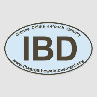 IBD - Crohns Colitis - Oval Sticker - Blue/Brown