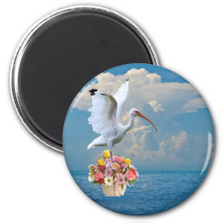 Ibis and Flowers Round Magnet