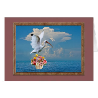 Ibis with Flowers All-Purpose Card