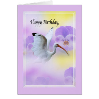 Ibis with Flowers Birthday Card