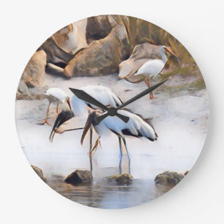 Ibis & Wood Storks Large Clock