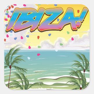 Ibiza beach Party travel poster Square Sticker