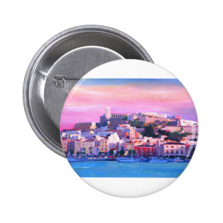 Ibiza Eivissa Old Town And Harbour Pearl 2 Inch Round Button