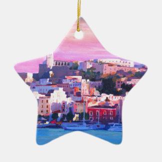 Ibiza Eivissa Old Town And Harbour Pearl Ceramic Ornament