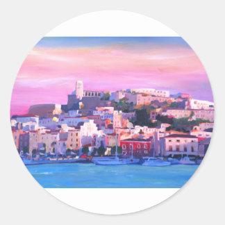 Ibiza Eivissa Old Town And Harbour Pearl Round Sticker