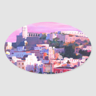 Ibiza Eivissa Old Town And Harbour Pearl Oval Sticker