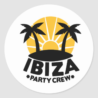 Ibiza Party Crew Round Sticker