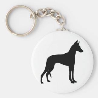 Ibizan Hound (black) Basic Round Button Keychain