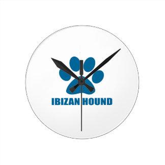 IBIZAN HOUND DOG DESIGNS ROUND CLOCK