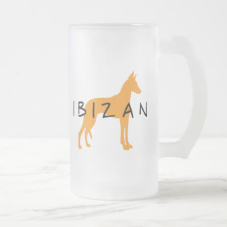Ibizan Hound (gold w/ text) Frosted Glass Beer Mug
