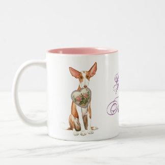 Ibizan Hound Heart Mom Two-Tone Coffee Mug
