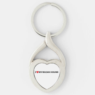 ibizan hound love Silver-Colored twisted heart keychain