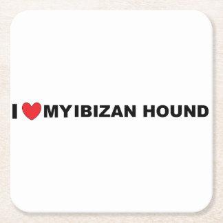 ibizan hound love square paper coaster