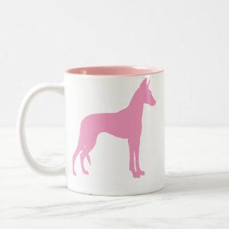 Ibizan Hound (pink) Two-Tone Coffee Mug