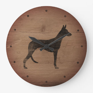 Ibizan Hound Silhouette Rustic Style Large Clock