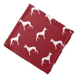 Ibizan Hound Silhouettes Pattern Red Bandannas