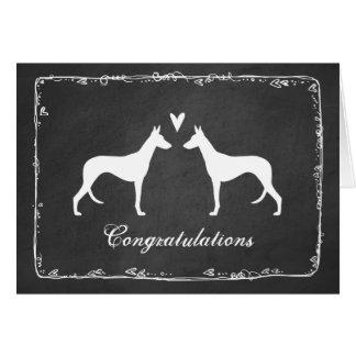 Ibizan Hound Silhouettes Wedding Congratulations Card