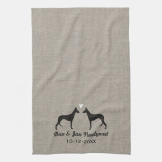 Ibizan Hound Silhouettes with Heart Kitchen Towel