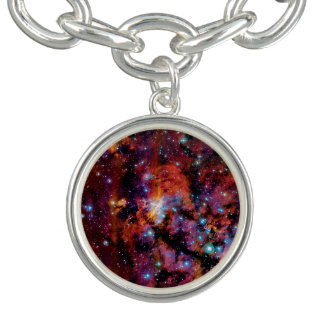 IC 4628 Prawn Nebula - Colorful Outer Space Photo Charm Bracelets