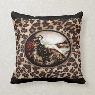 Icart Leopard Lady on Leopard Print Pillow