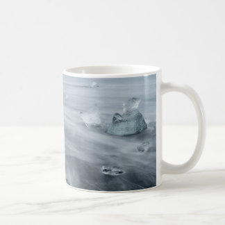 Ice and water on a beach, iceland coffee mug