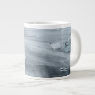 Ice and water on a beach, iceland giant coffee mug