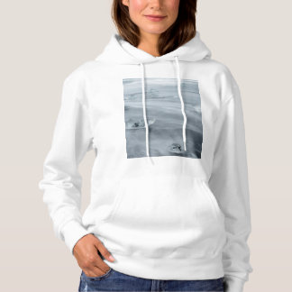 Ice and water on a beach, iceland hoodie