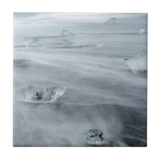 Ice and water on a beach, iceland tile