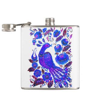 Ice bird petrykivka ukrainian art hip flask