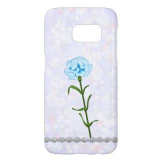 Ice Blue Bokeh Carnation Flower Diamonds Samsung Galaxy S7 Case