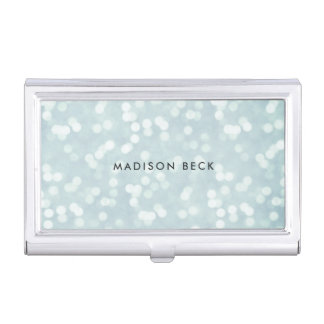 Ice Blue Bokeh Personalized Business Card Holder