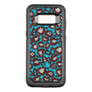 Ice Blue Burgundy Cheetah Abstract OtterBox Commuter Samsung Galaxy S8 Case