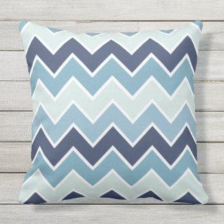 Ice Blue Chevron Print Outdoor Pillow