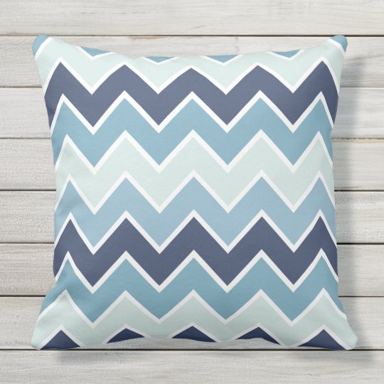 Ice Blue Chevron Print Outdoor Pillow