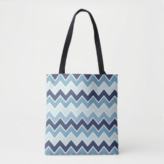 Ice Blue Chevron Print Tote Bag