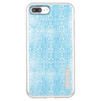 Ice Blue Damask Weathered Pattern Incipio DualPro Shine iPhone 7 Plus Case