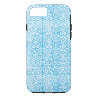 Ice Blue Damask Weathered Pattern iPhone 7 Case
