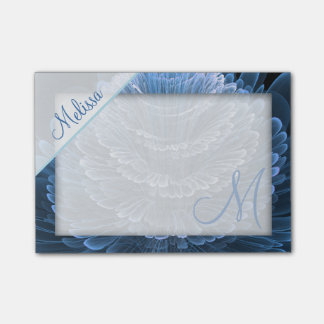 Ice Blue Floral Monogram Post-it Notes