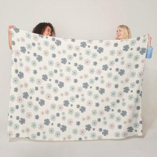 Ice Blue Flower petals modern pattern Fleece Blanket